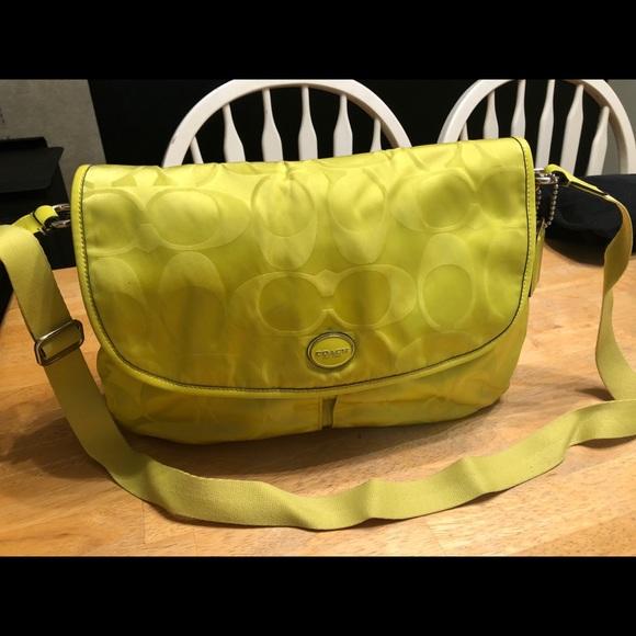 Coach Handbags - Coach Crossbody chartreuse messenger style bag